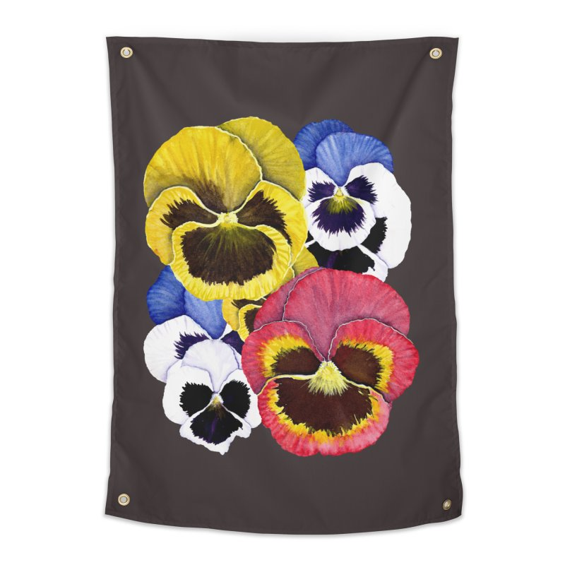 Pansies Home Tapestry by Kris Efe's Artist Shop