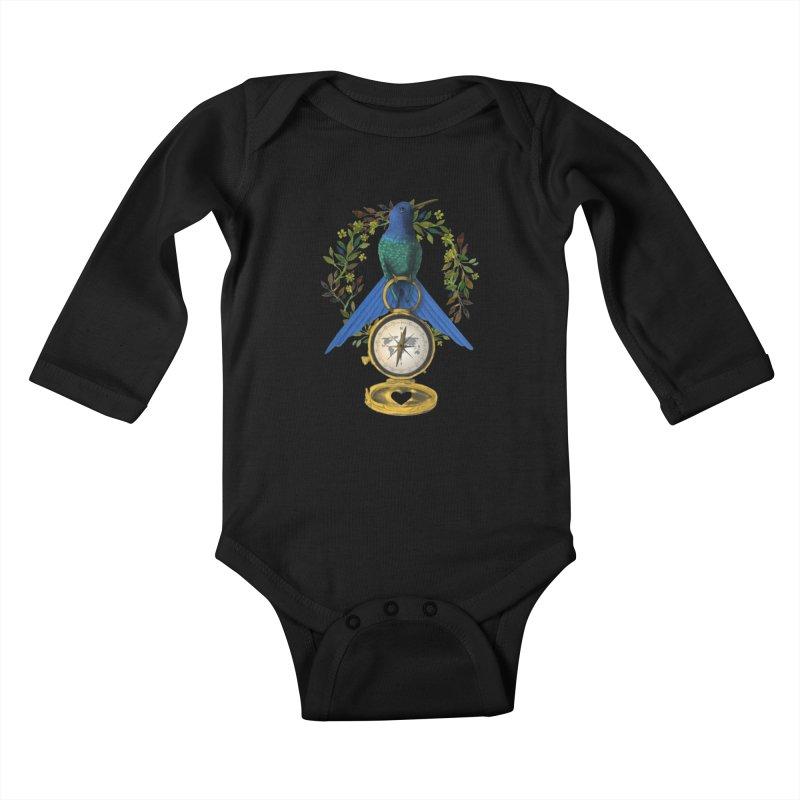 Home is where your heart is Kids Baby Longsleeve Bodysuit by Kris Efe's Artist Shop