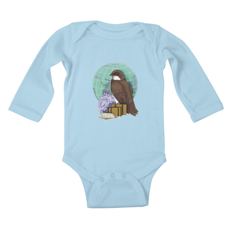 Little World Traveler Kids Baby Longsleeve Bodysuit by Kris Efe's Artist Shop