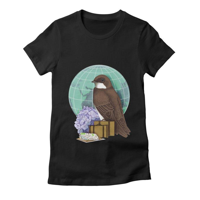Little World Traveler Women's Fitted T-Shirt by Kris Efe's Artist Shop