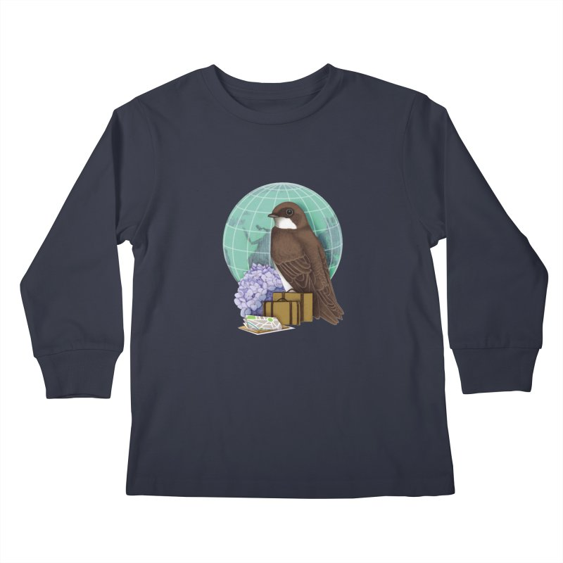 Little World Traveler Kids Longsleeve T-Shirt by Kris Efe's Artist Shop