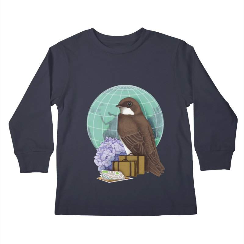 Little World Traveler Kids Longsleeve T-Shirt by Kris Efe's Artist Shop