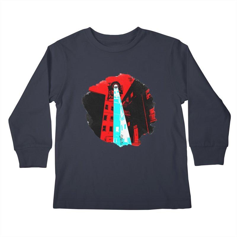 Robot Attack! Kids Longsleeve T-Shirt by Krishna Designs