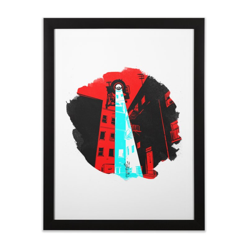 Robot Attack! Home Framed Fine Art Print by Krishna Designs