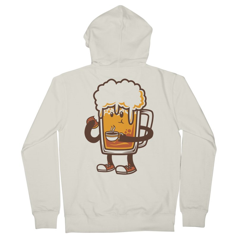 Doughnut Biting Coffee Drinking Beer  Men's Zip-Up Hoody by krisren28's Artist Shop