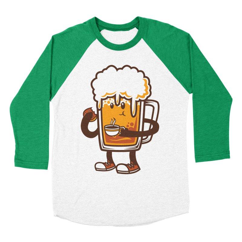 Doughnut Biting Coffee Drinking Beer  Men's Baseball Triblend T-Shirt by krisren28's Artist Shop