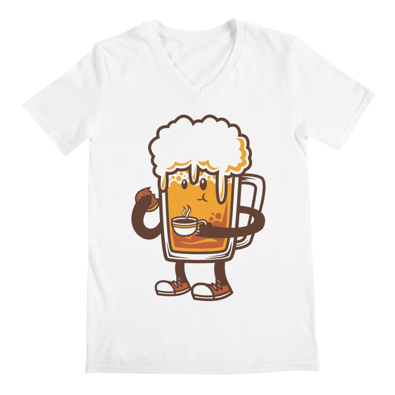 Doughnut Biting Coffee Drinking Beer  Men's V-Neck by krisren28's Artist Shop