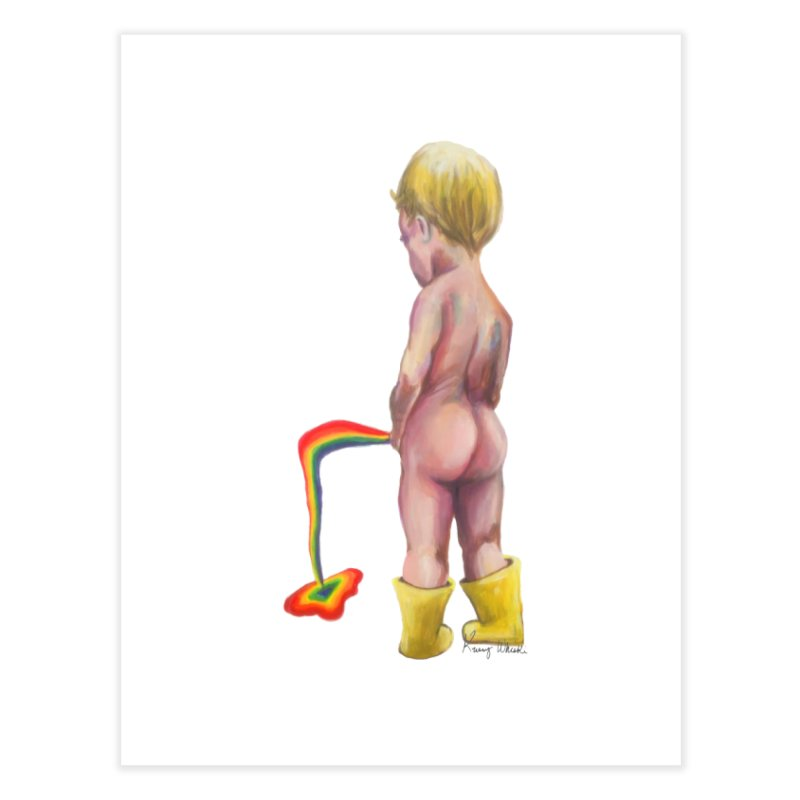 Pissing Rainbows Home Fine Art Print by Whiski Tee