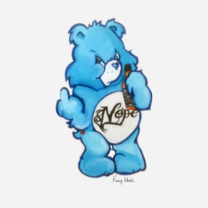 Don't Care Bear Home Fine Art Print by Whiski Tee