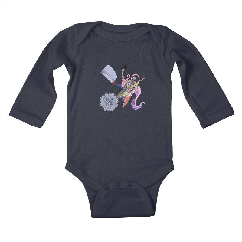 Abomination Fish Lowbrow Shirt Kids Baby Longsleeve Bodysuit by Whiski Tee