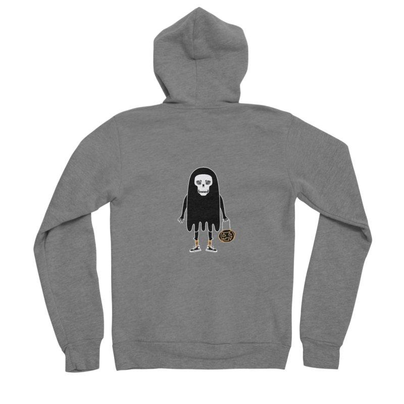 Trick or Treat Skully Ghost Men's Zip-Up Hoody by Whiski Tee