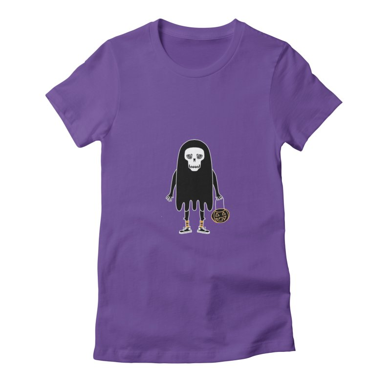 Trick or Treat Skully Ghost Women's T-Shirt by Whiski Tee
