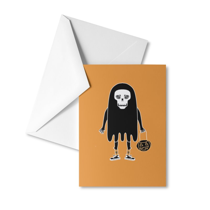 Trick or Treat Skully Ghost Accessories Greeting Card by Whiski Tee