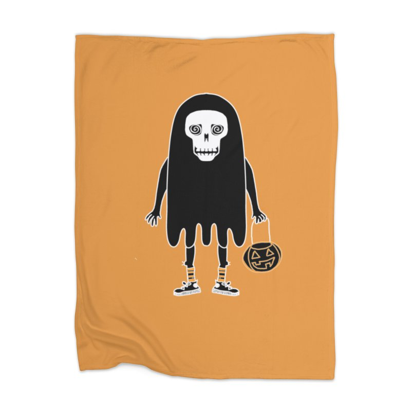 Trick or Treat Skully Ghost Home Blanket by Whiski Tee