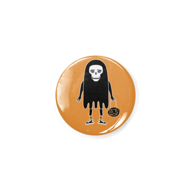 Trick or Treat Skully Ghost Accessories Button by Whiski Tee