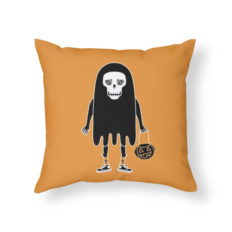 Trick or Treat Skully Ghost Home Throw Pillow by Whiski Tee