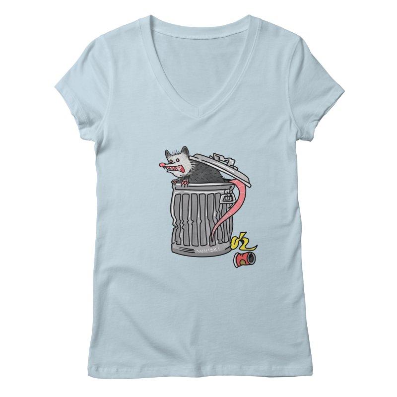 Trash Possum Women's V-Neck by Whiski Tee