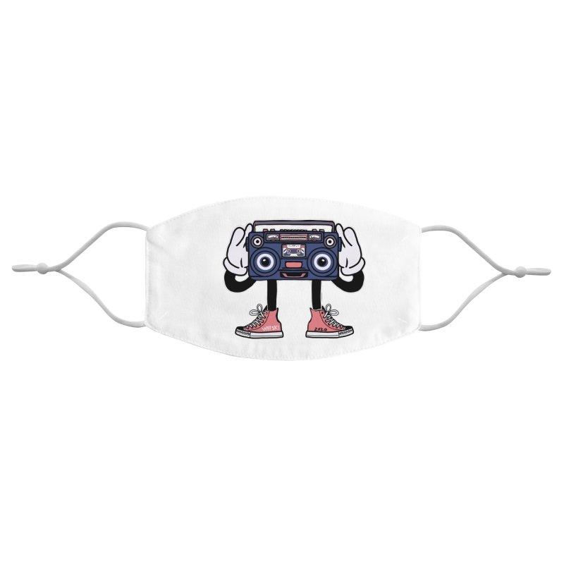 Cartoon Boom Box Radio Head Accessories Face Mask by Whiski Tee