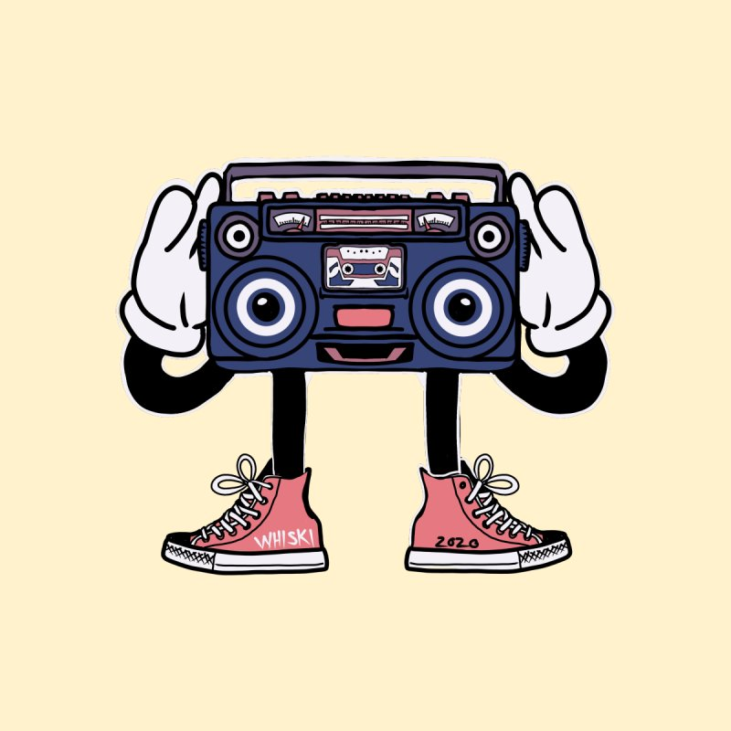 Cartoon Boom Box Radio Head Accessories Skateboard by Whiski Tee