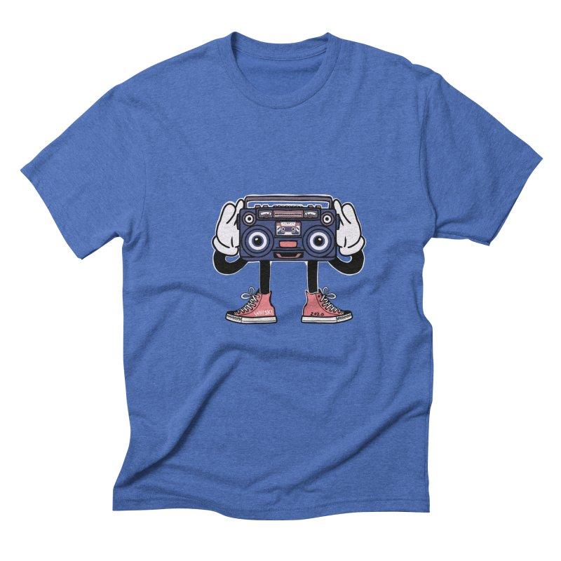 Cartoon Boom Box Radio Head Men's T-Shirt by Whiski Tee