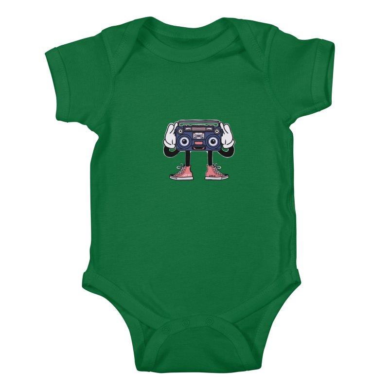 Cartoon Boom Box Radio Head Kids Baby Bodysuit by Whiski Tee