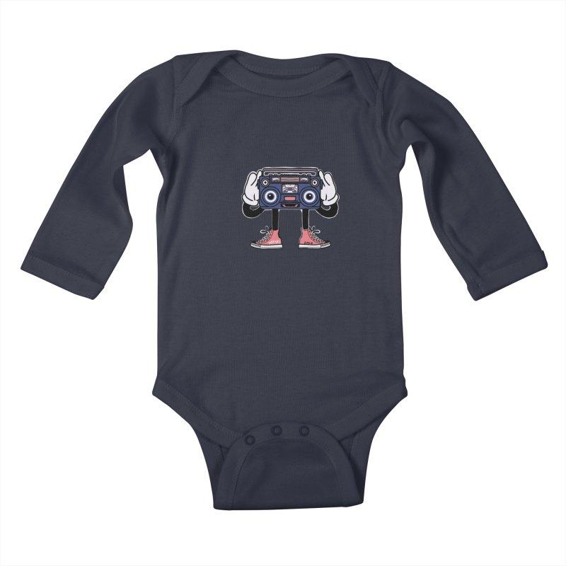 Cartoon Boom Box Radio Head Kids Baby Longsleeve Bodysuit by Whiski Tee