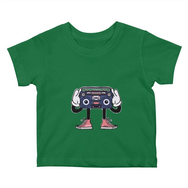 Cartoon Boom Box Radio Head Kids Baby T-Shirt by Whiski Tee
