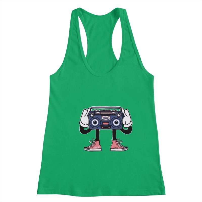 Cartoon Boom Box Radio Head Women's Tank by Whiski Tee