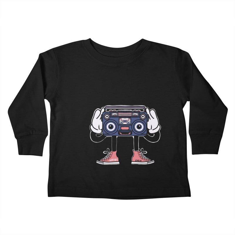 Cartoon Boom Box Radio Head Kids Toddler Longsleeve T-Shirt by Whiski Tee