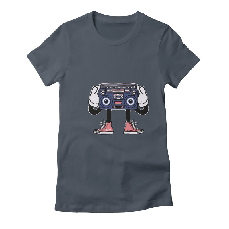 Cartoon Boom Box Radio Head Women's T-Shirt by Whiski Tee