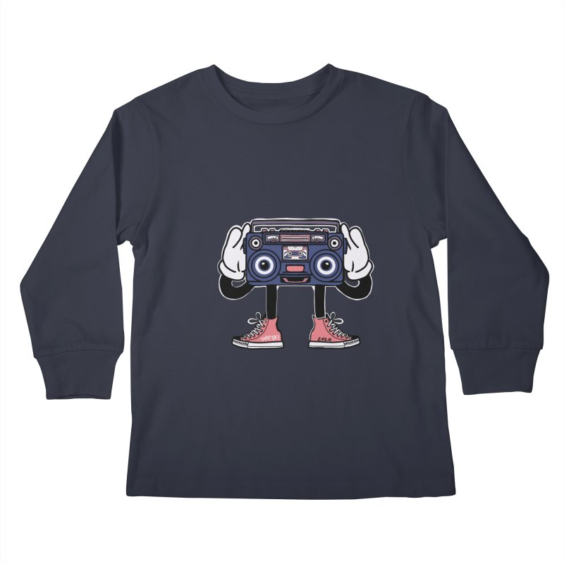 Cartoon Boom Box Radio Head Kids Longsleeve T-Shirt by Whiski Tee