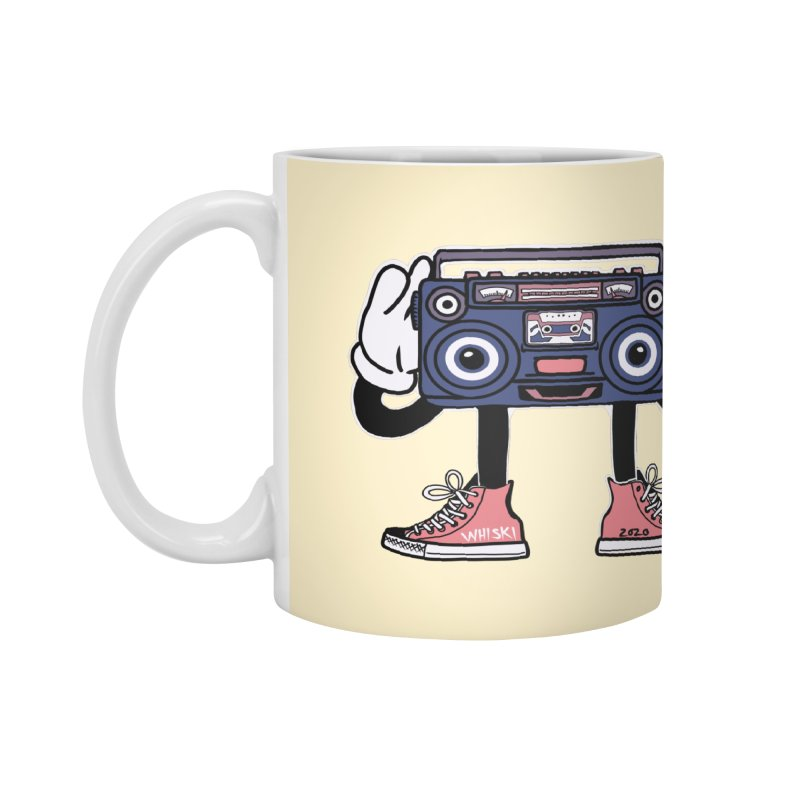 Cartoon Boom Box Radio Head Accessories Mug by Whiski Tee