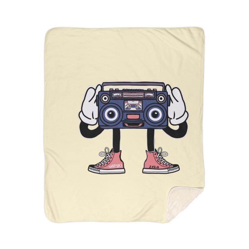 Cartoon Boom Box Radio Head Home Blanket by Whiski Tee