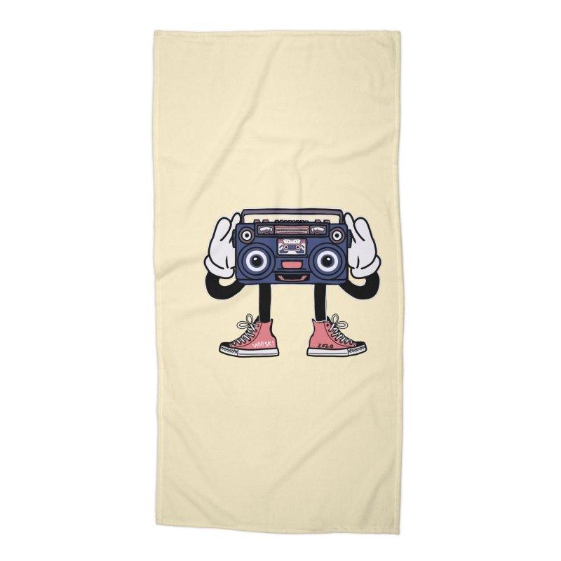 Cartoon Boom Box Radio Head Accessories Beach Towel by Whiski Tee