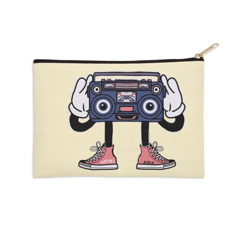 Cartoon Boom Box Radio Head Accessories Zip Pouch by Whiski Tee