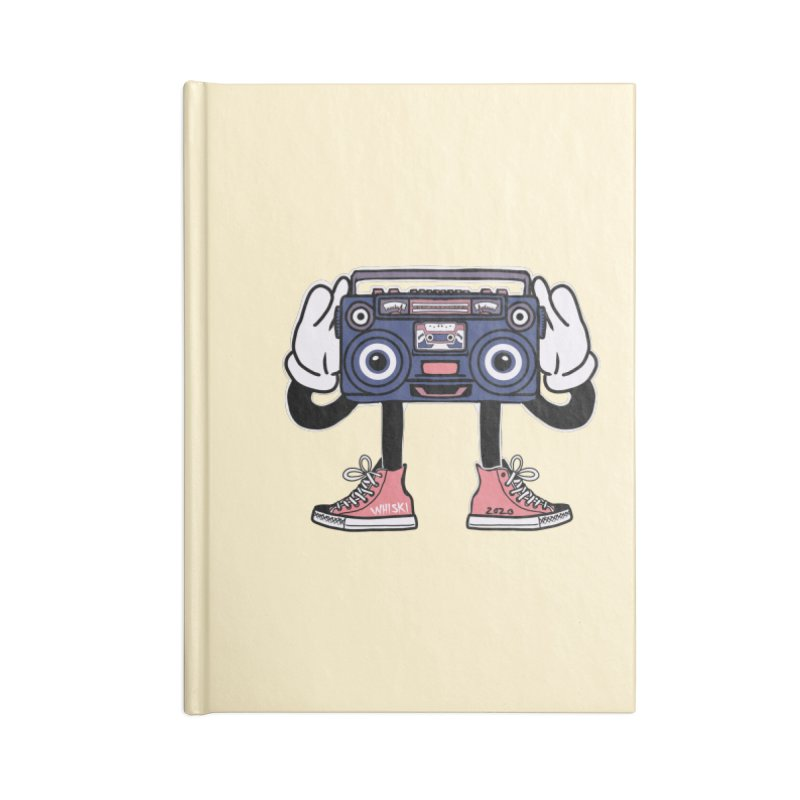 Cartoon Boom Box Radio Head Accessories Notebook by Whiski Tee
