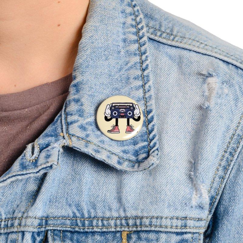 Cartoon Boom Box Radio Head Accessories Button by Whiski Tee