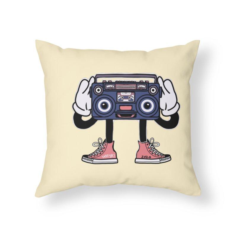Cartoon Boom Box Radio Head Home Throw Pillow by Whiski Tee