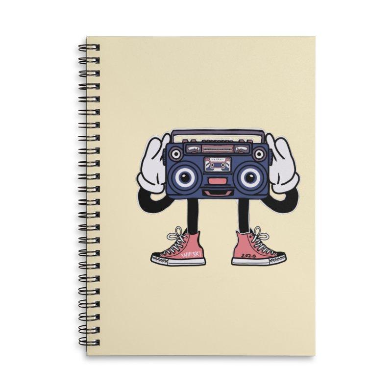 Cartoon Boom Box Radio Head Accessories Notebook by Whiski Tee
