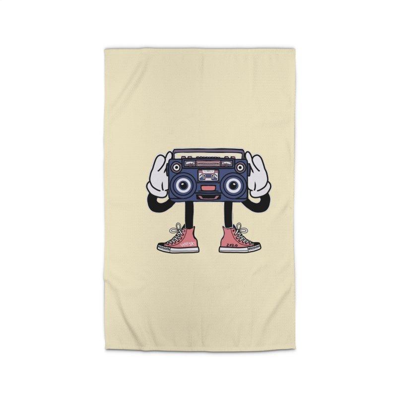 Cartoon Boom Box Radio Head Home Rug by Whiski Tee