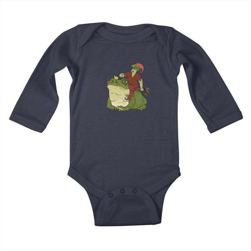 Elf and Frog King Kids Baby Longsleeve Bodysuit by Whiski Tee