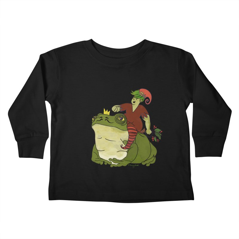 Elf and Frog King Kids Toddler Longsleeve T-Shirt by Whiski Tee