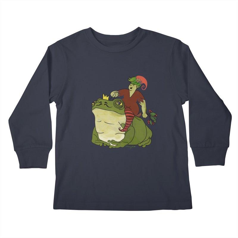 Elf and Frog King Kids Longsleeve T-Shirt by Whiski Tee