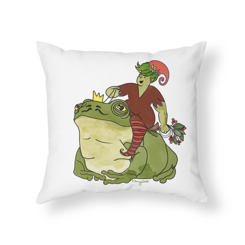 Elf and Frog King Home Throw Pillow by Whiski Tee