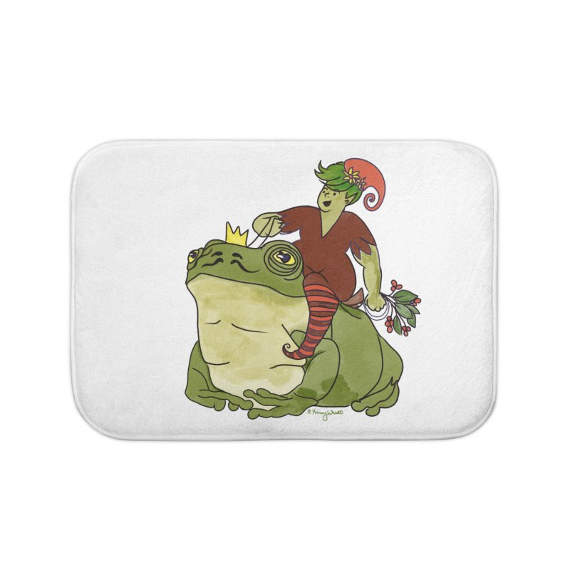 Elf and Frog King Home Bath Mat by Whiski Tee