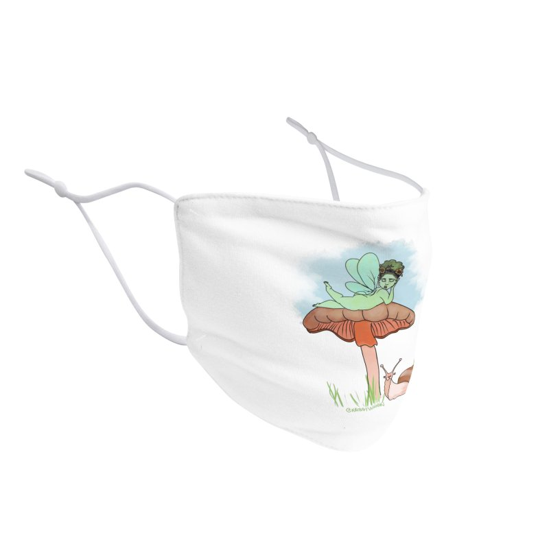 Fairie on Mushroom with Snail Friend Accessories Face Mask by Whiski Tee