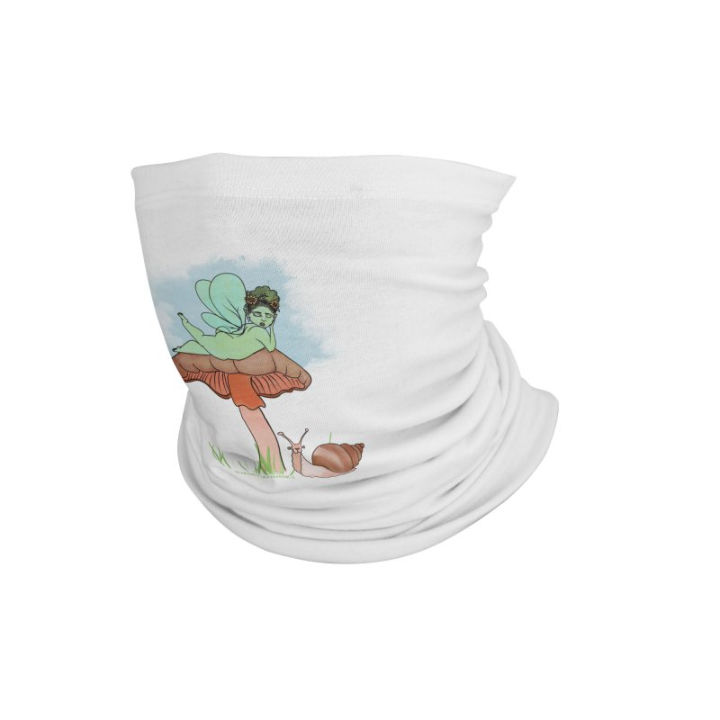 Fairie on Mushroom with Snail Friend Accessories Neck Gaiter by Whiski Tee