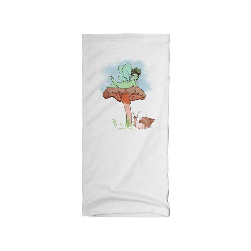 Fairie on Mushroom with Snail Friend Accessories Neck Gaiter by Whiski Tee