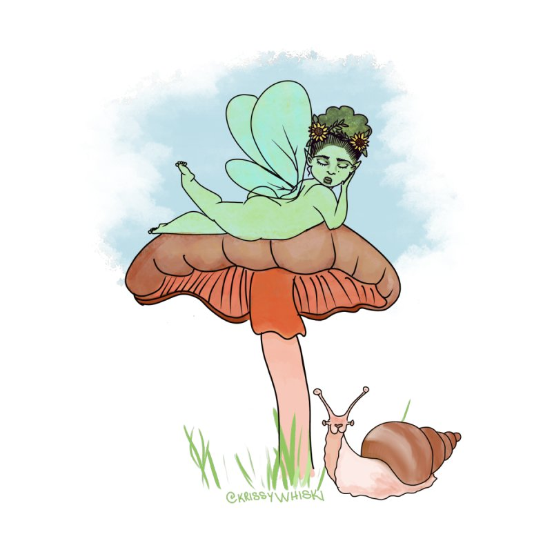 Fairie on Mushroom with Snail Friend Kids Baby Longsleeve Bodysuit by Whiski Tee