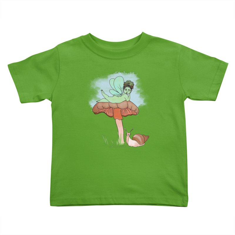 Fairie on Mushroom with Snail Friend Kids Toddler T-Shirt by Whiski Tee